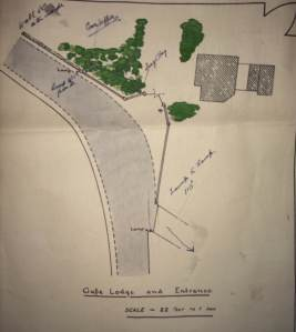 Map showing the position of RUC Constables Hopper and Hay relative to the gate and gate lodge. From trial documents.
