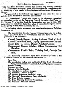 Official notice of proscription of various republican and left organisations by Free State government in October 1931.