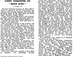 First Saor Éire congress, October 1931.