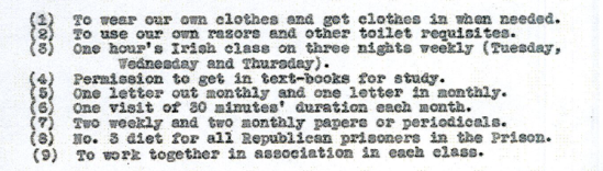 NIne demands made by republican prisoners, Crumlin Road, 1936 (from Tony Lavery's diary, PRONI Ha 32/1/635).