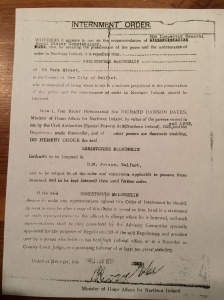 Copy of Chris McLoughlin's internment order (courtesy of Chris McLoughlin Jr)
