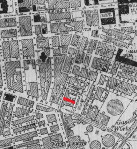Reilly's Place/Riley's Place, location shown in red.