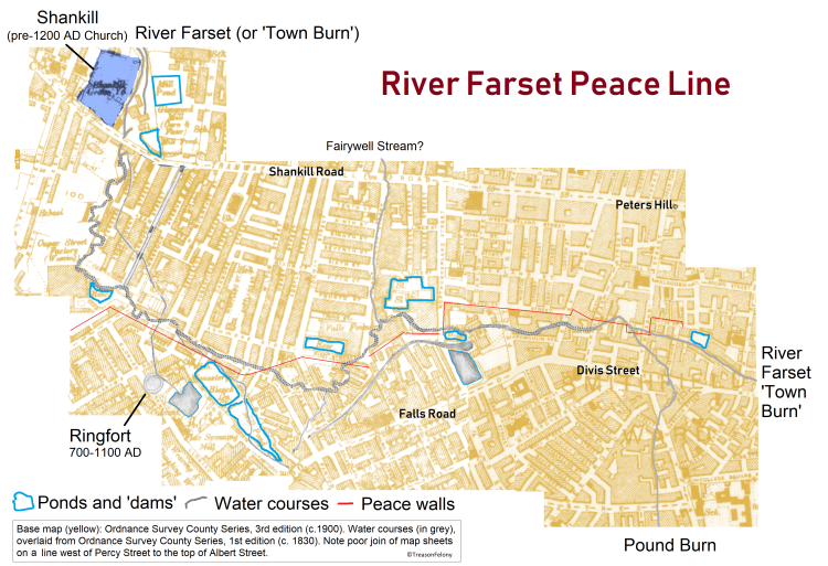 Farset and peace line Map